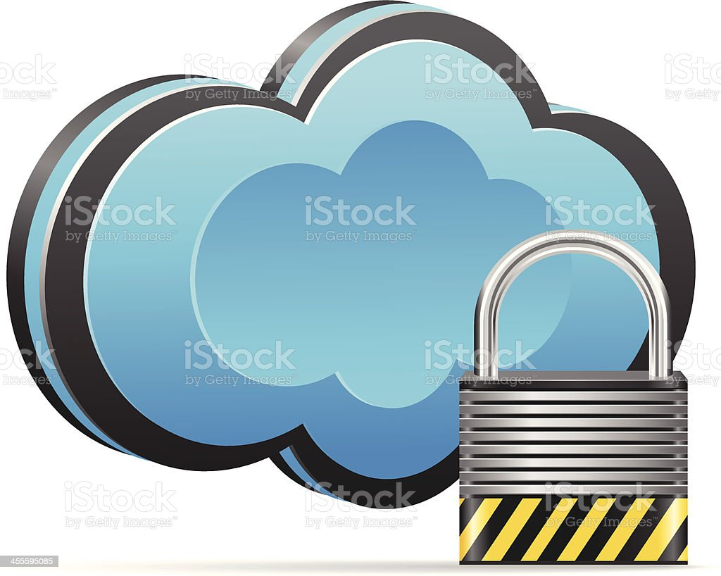 Cloud with Padlock royalty-free stock vector art