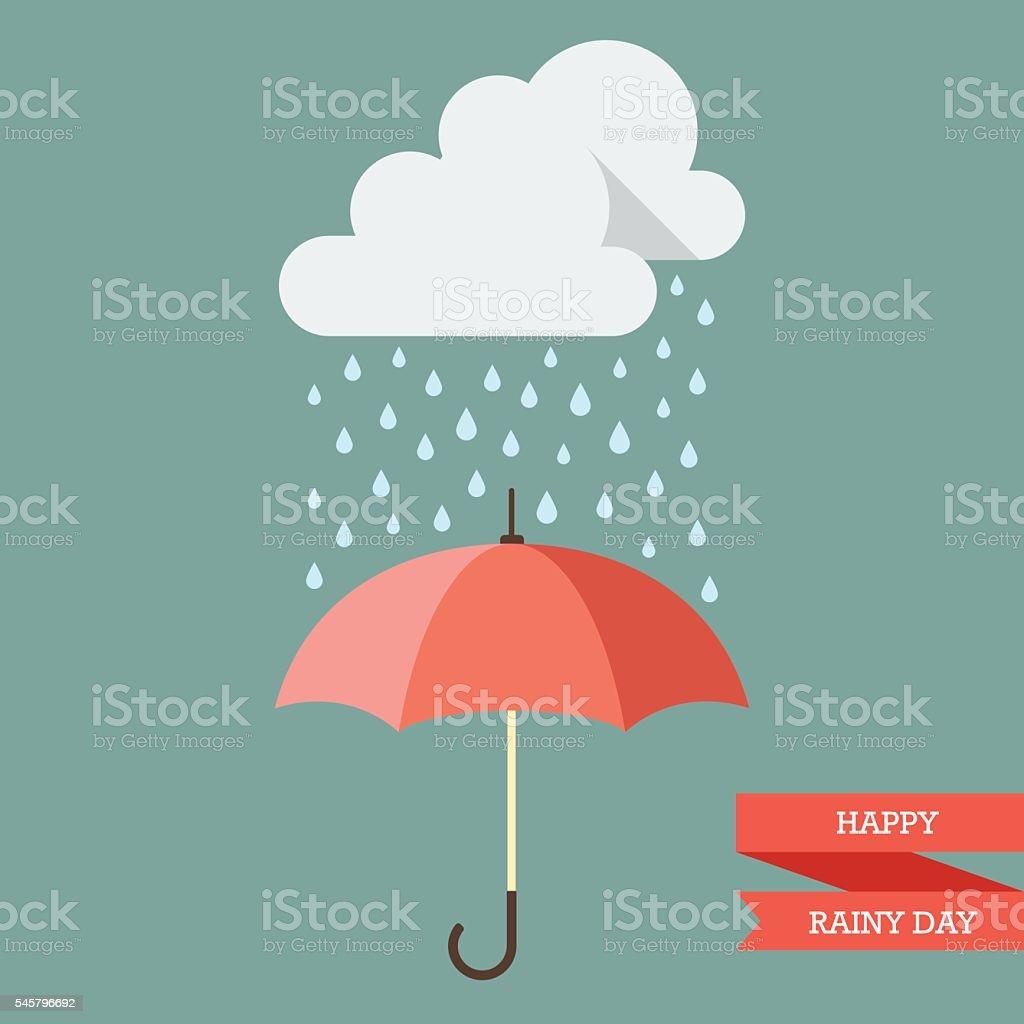 Cloud with Rain drop on umbrella vector art illustration
