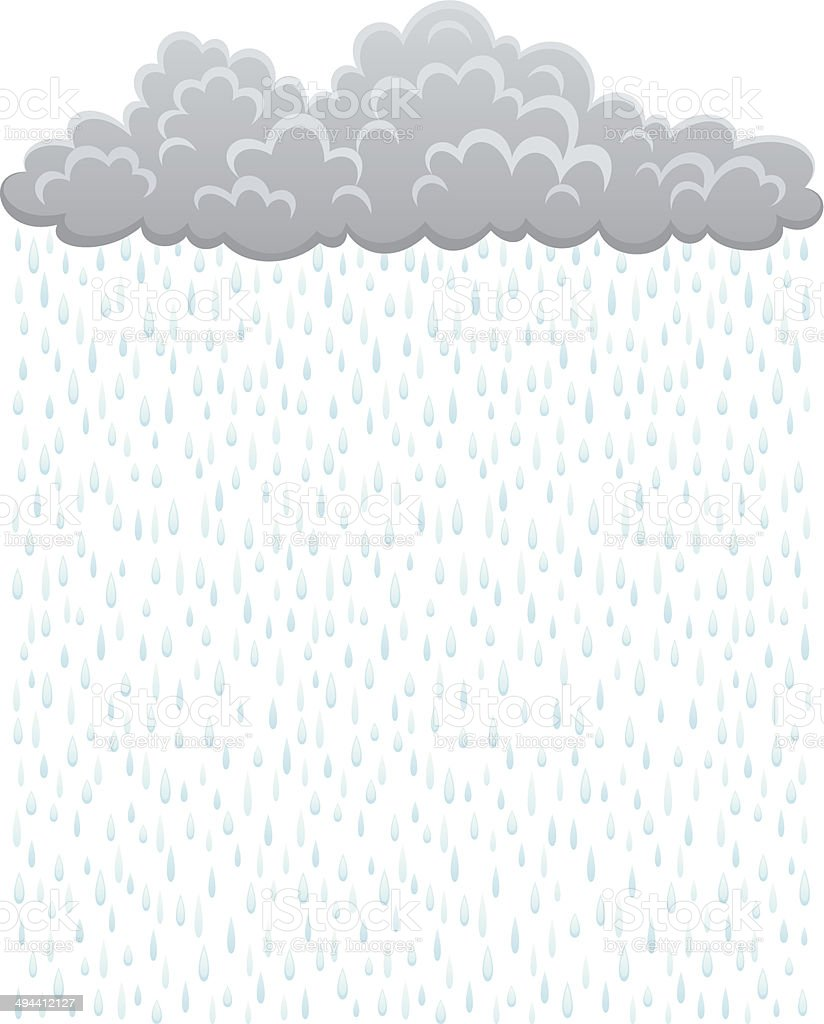 Cloud with rain vector art illustration
