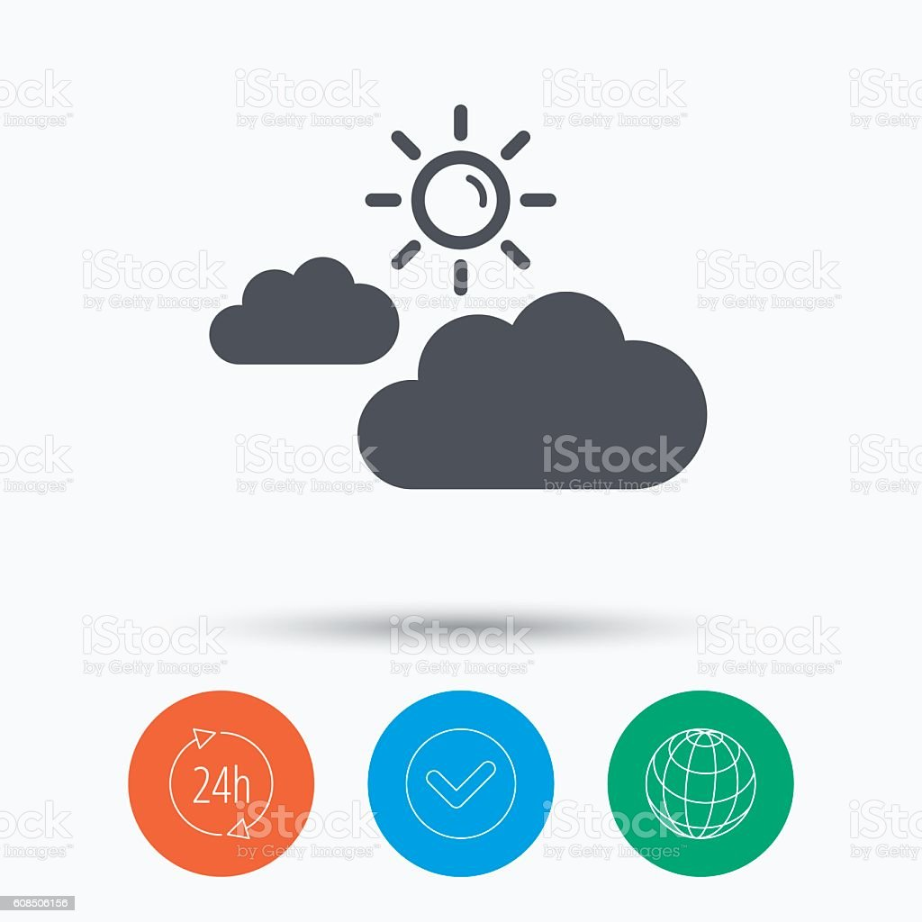 Cloud with sun icon. Sunny weather sign. vector art illustration