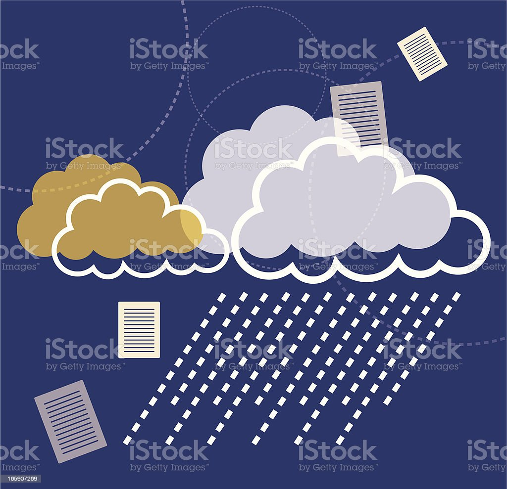 Clouds and Documents vector art illustration