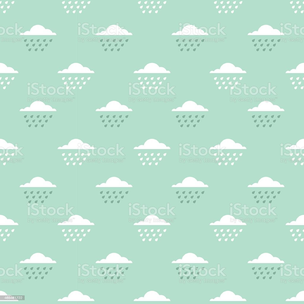 clouds and drops pattern vector art illustration