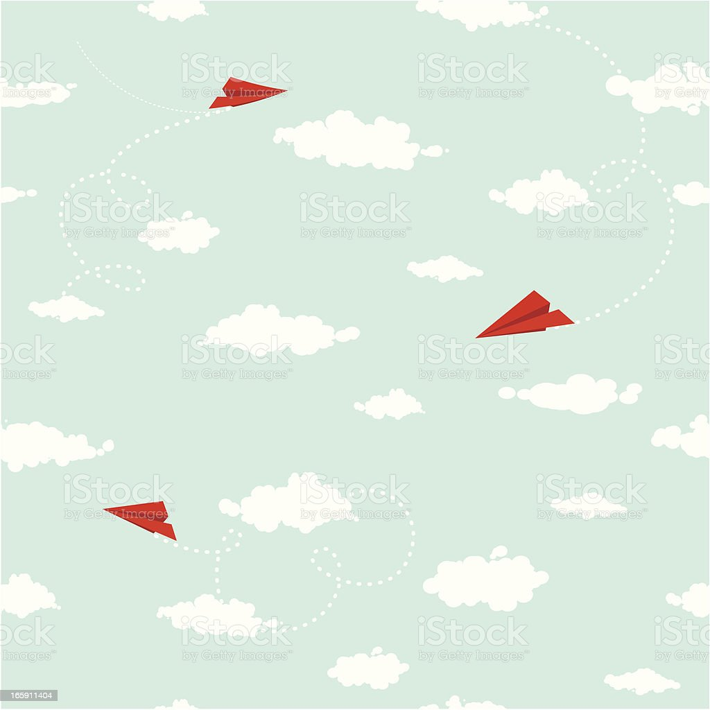 Clouds and paper planes seamless pattern vector art illustration