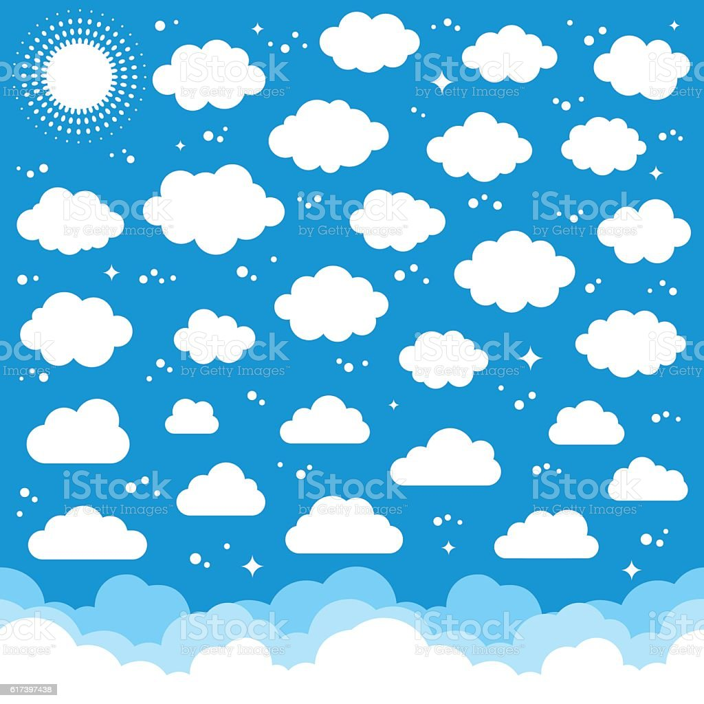 Clouds and Sun vector art illustration