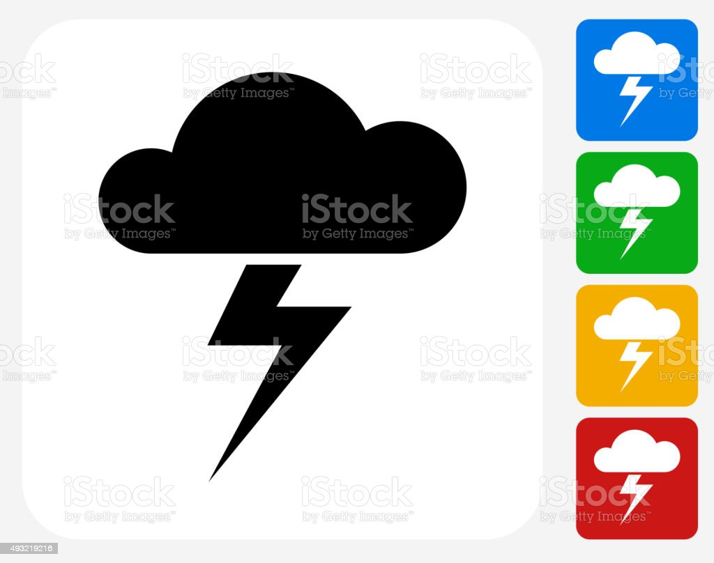 Clouds and Thunderstorm Icon Flat Graphic Design vector art illustration