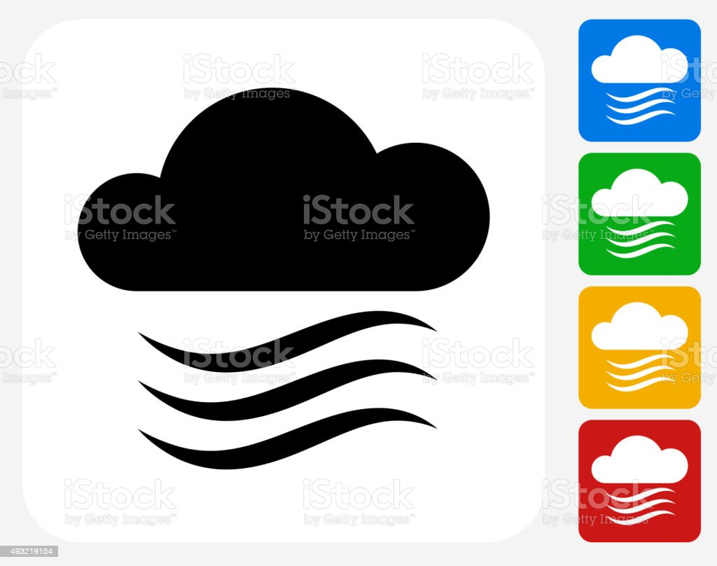 Clouds and Wind Icon Flat Graphic Design vector art illustration