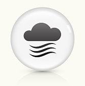 Clouds and Wind icon on white round vector button