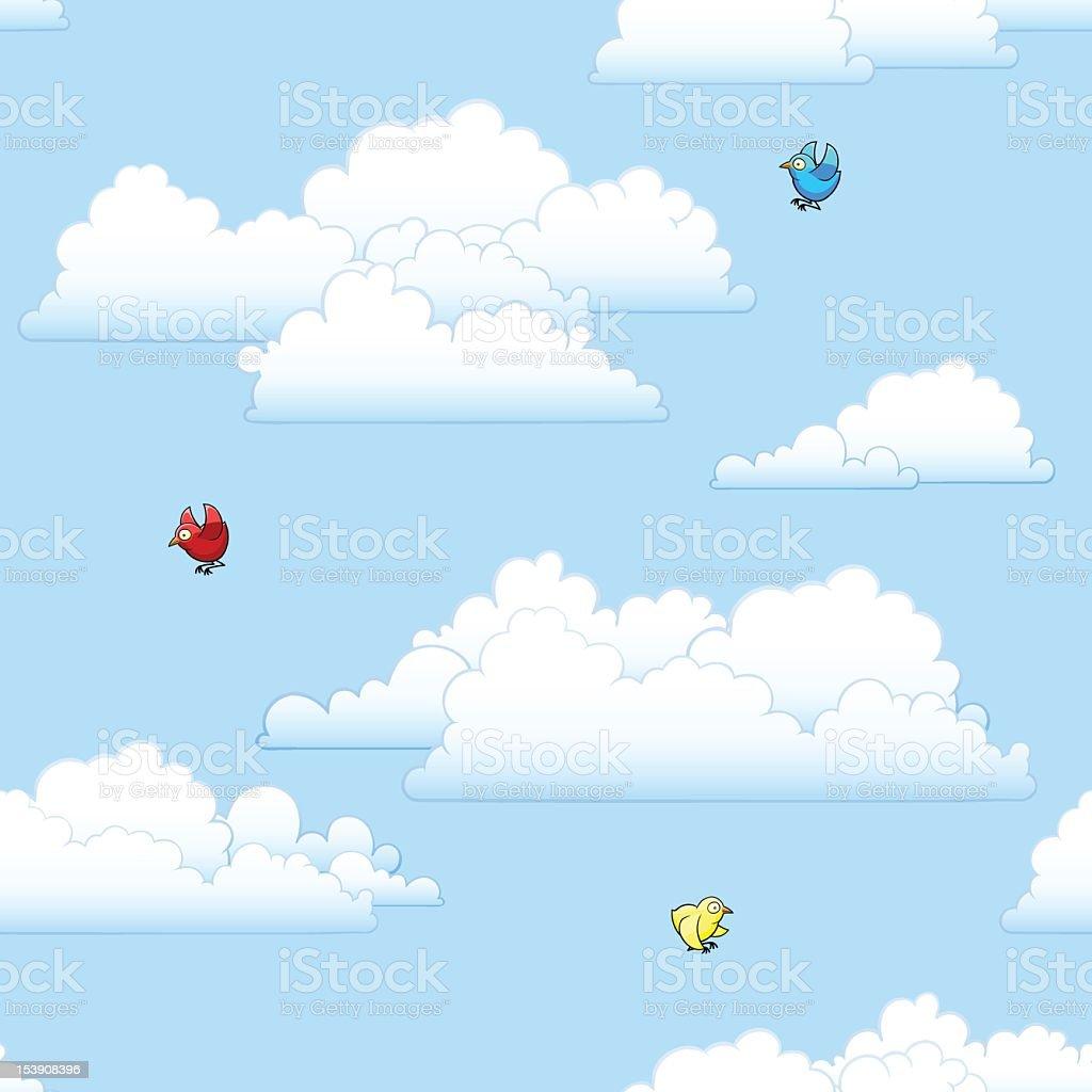 Clouds & Birds royalty-free stock vector art