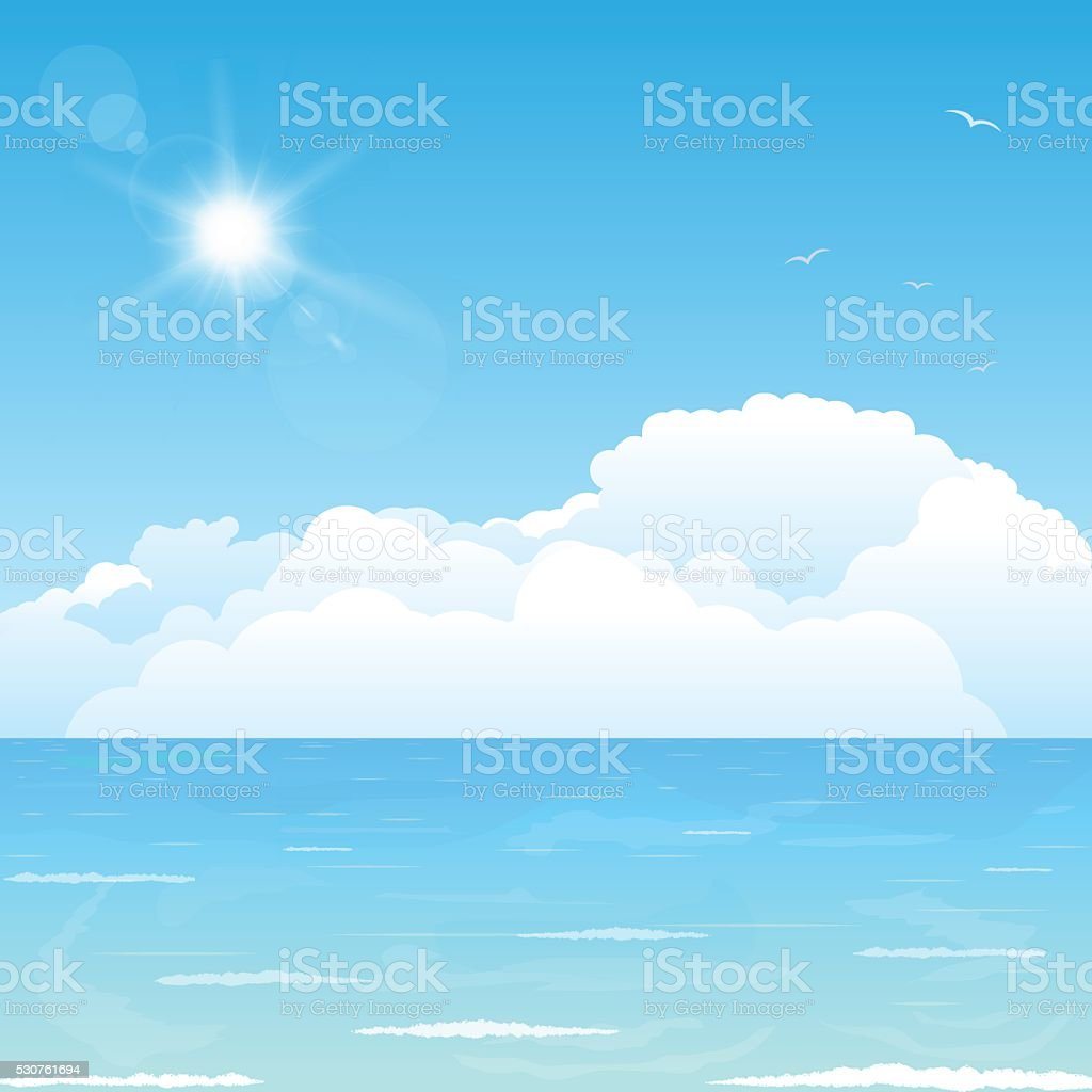 Clouds on ocean vector art illustration