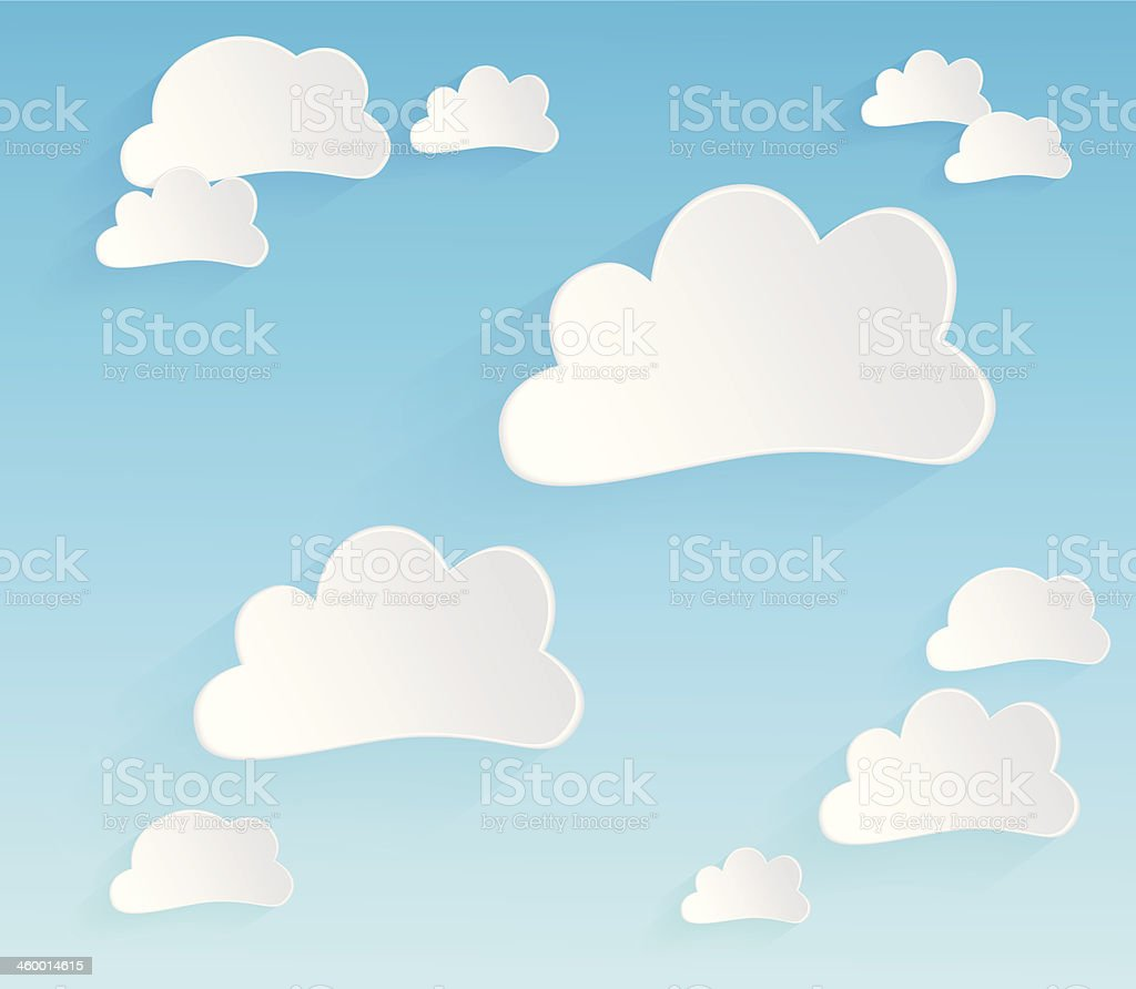 Clouds on Turquoise Blue Sky with Long Shadows royalty-free stock vector art