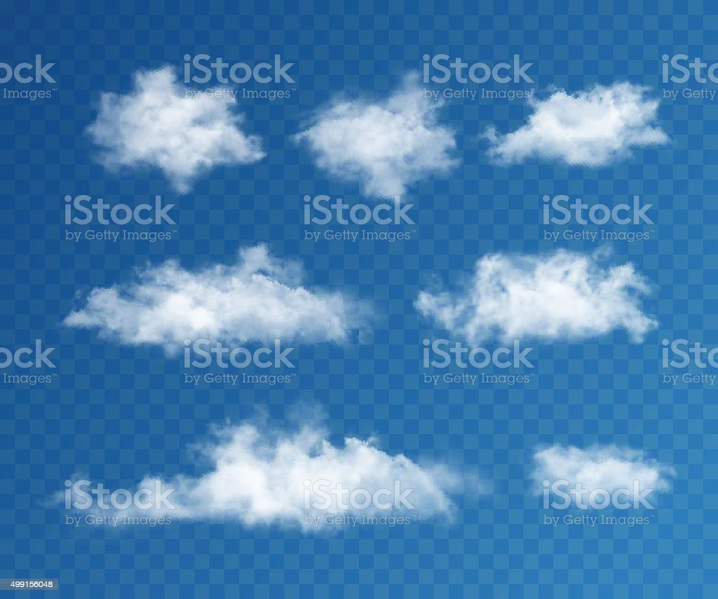 Clouds realistic set vector art illustration