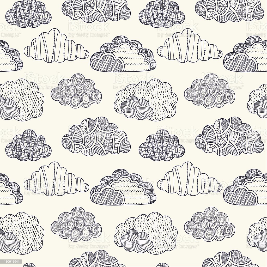Clouds seamless pattern royalty-free stock vector art