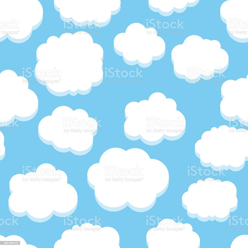 Clouds seamless pattern vector art illustration