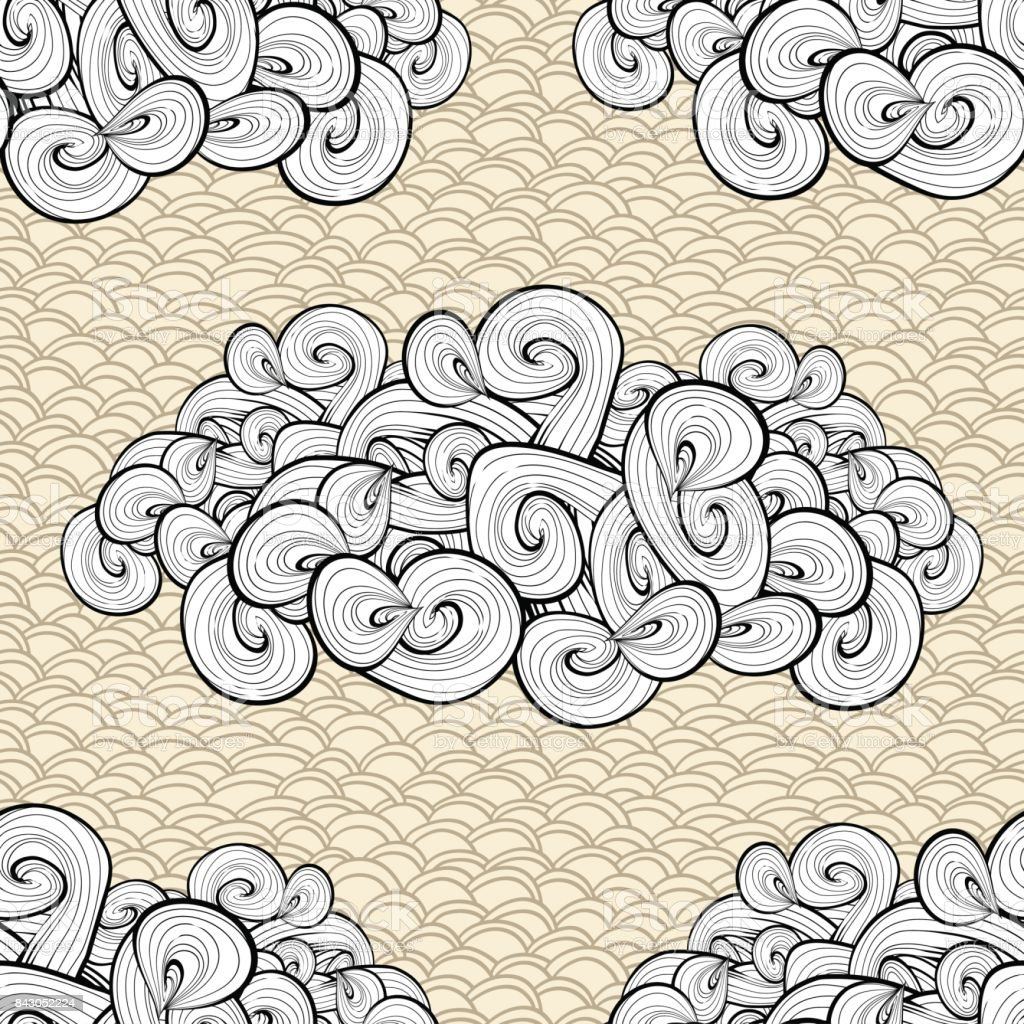 Clouds shape seamless pattern. Vintage sky background, fabric swatch. Hand drawn lines. Vector texture. vector art illustration