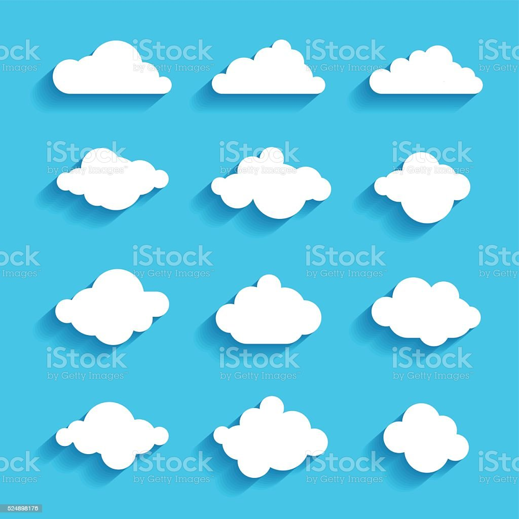 clouds sky heaven icon symbol label logo sign vector art illustration