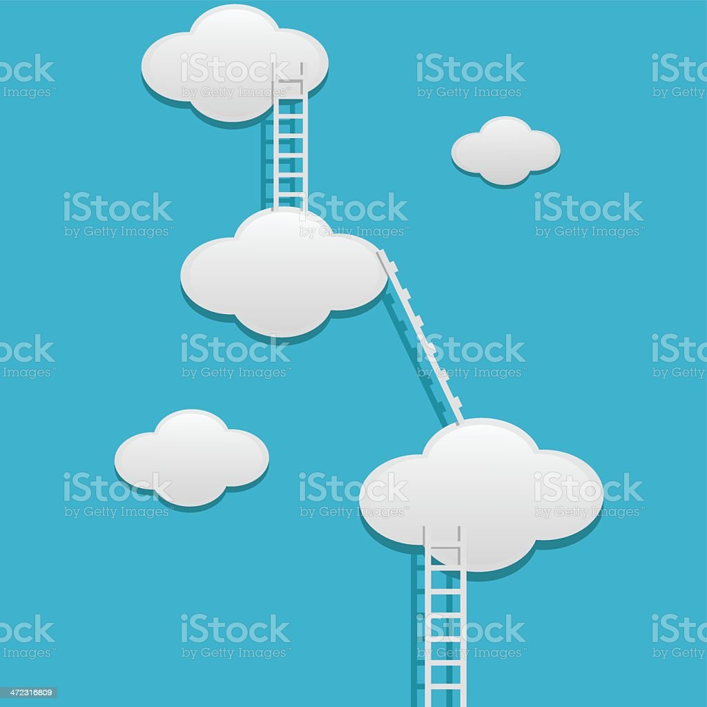 Clouds with ladders royalty-free stock vector art