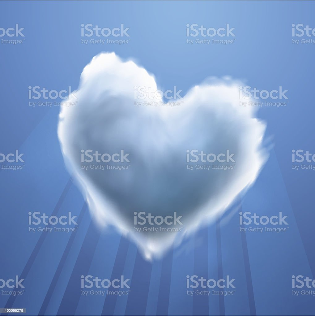 Cloud-shaped heart on a sky royalty-free stock vector art