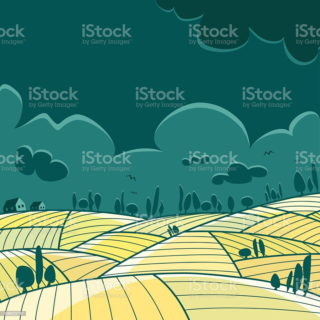 Cloudy landscape vector art illustration