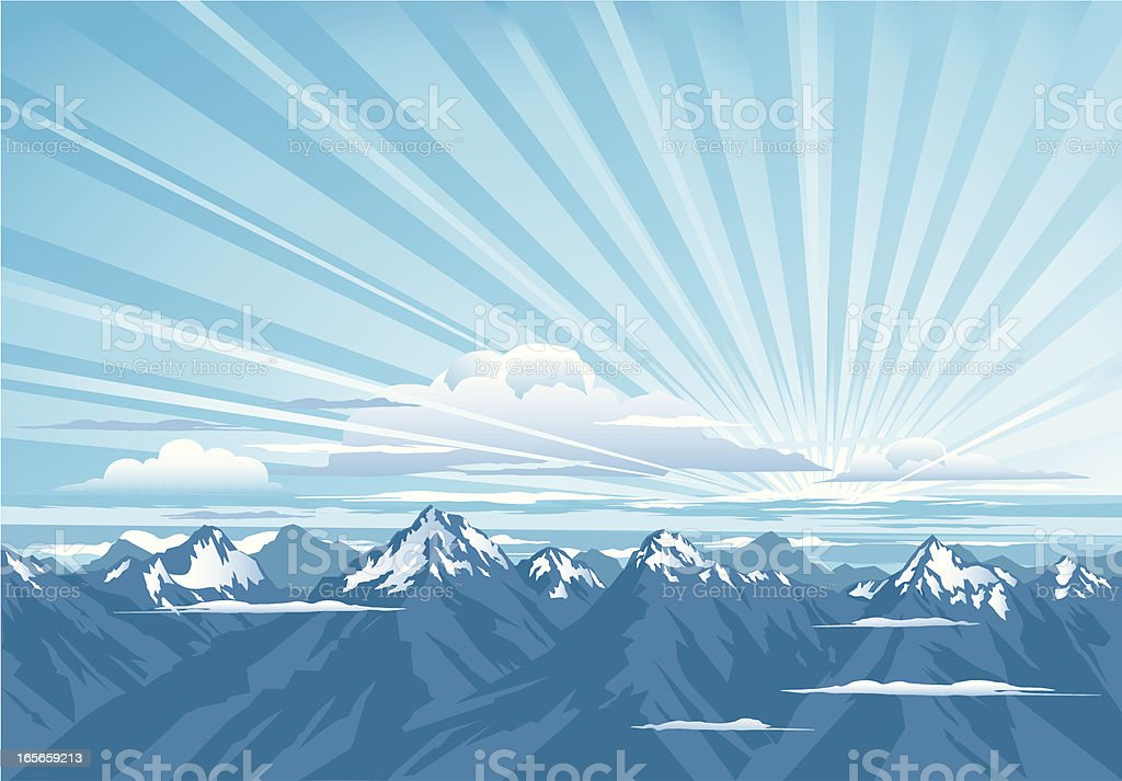 Cloudy Mountain Sunrise royalty-free stock vector art