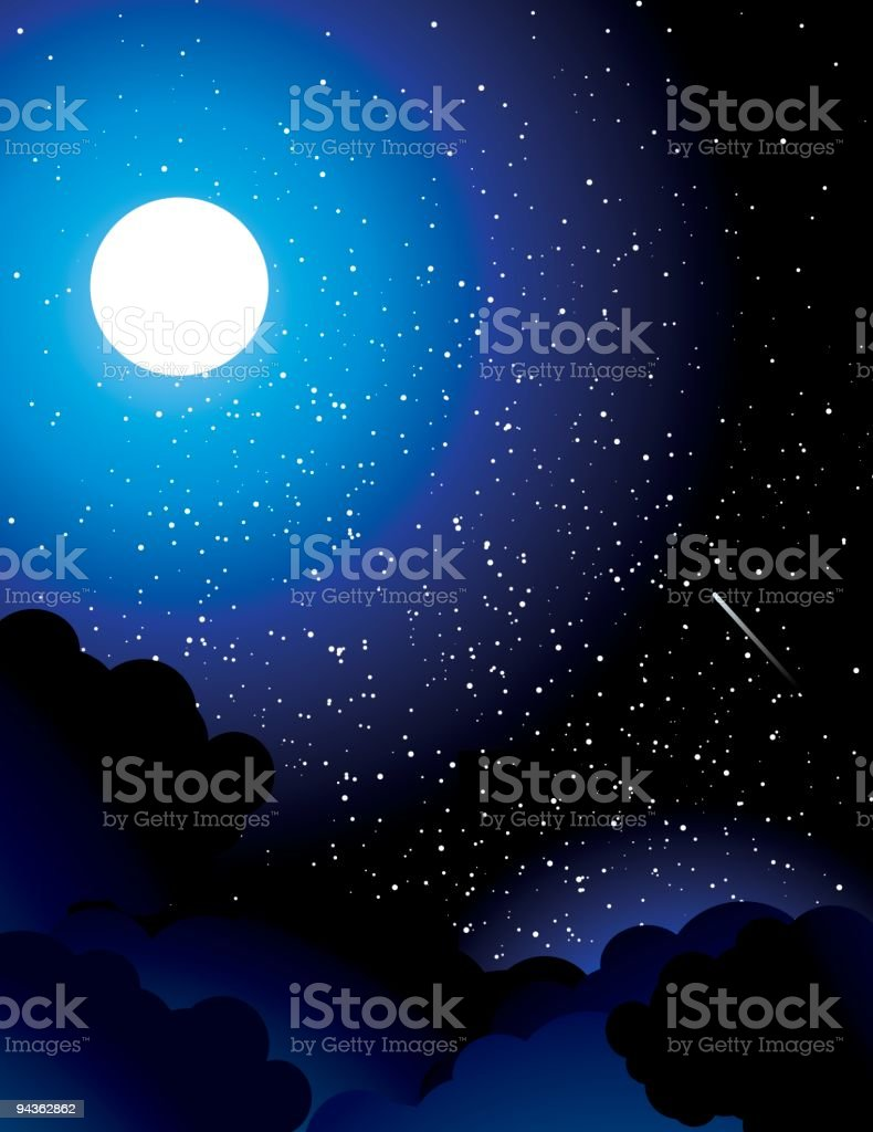 Cloudy Night Time royalty-free stock vector art