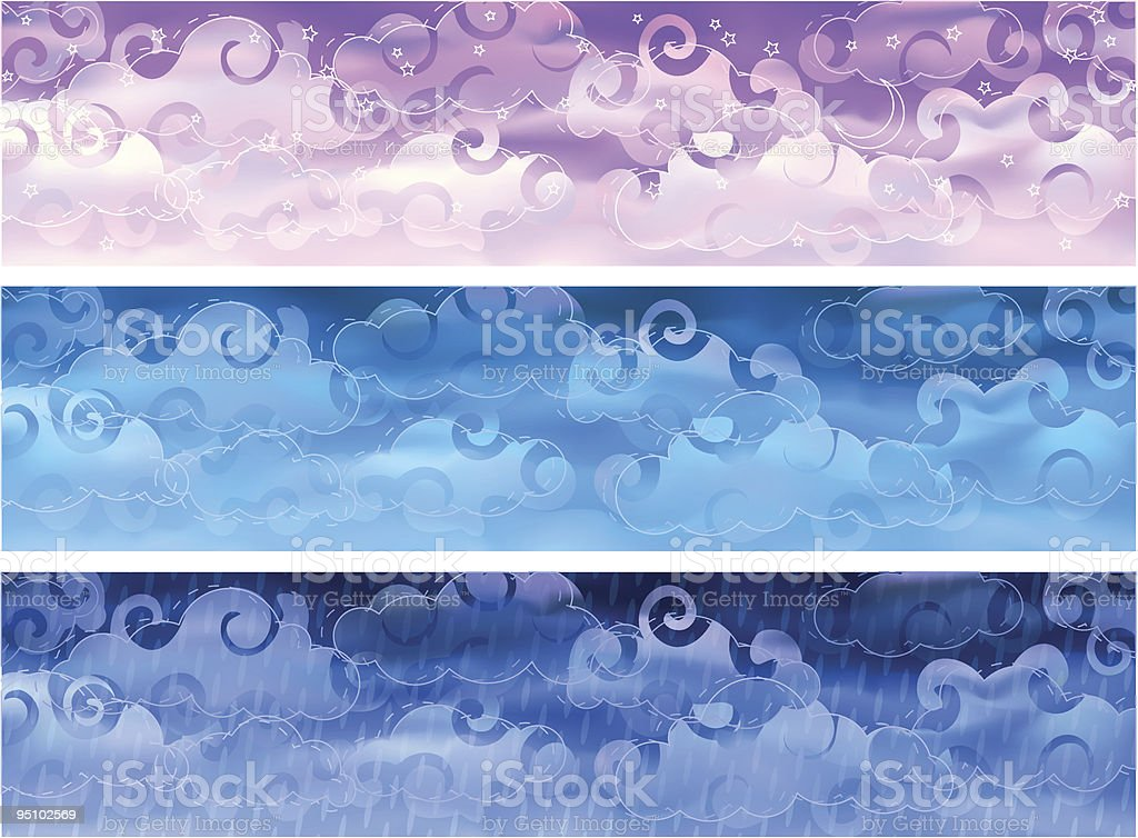 Cloudy sky weather banners royalty-free stock vector art