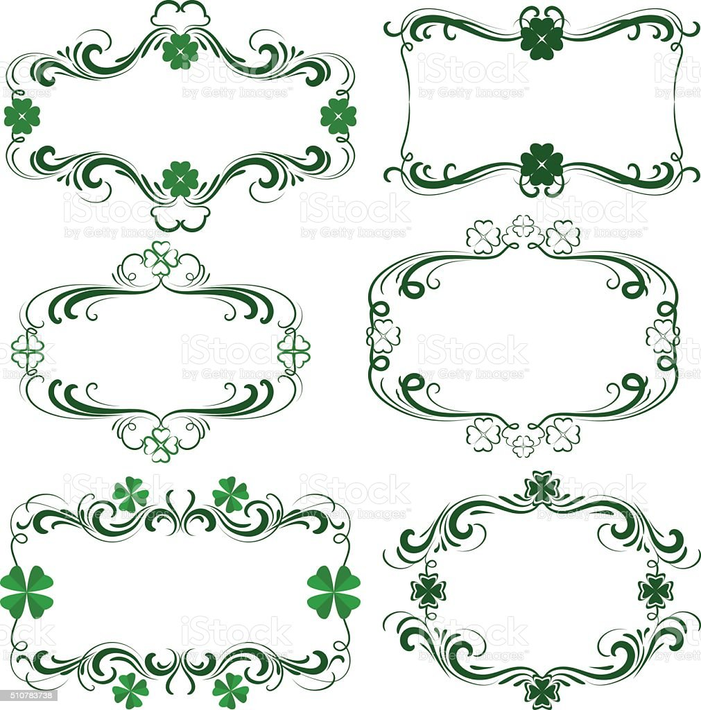 Clover frames vector art illustration
