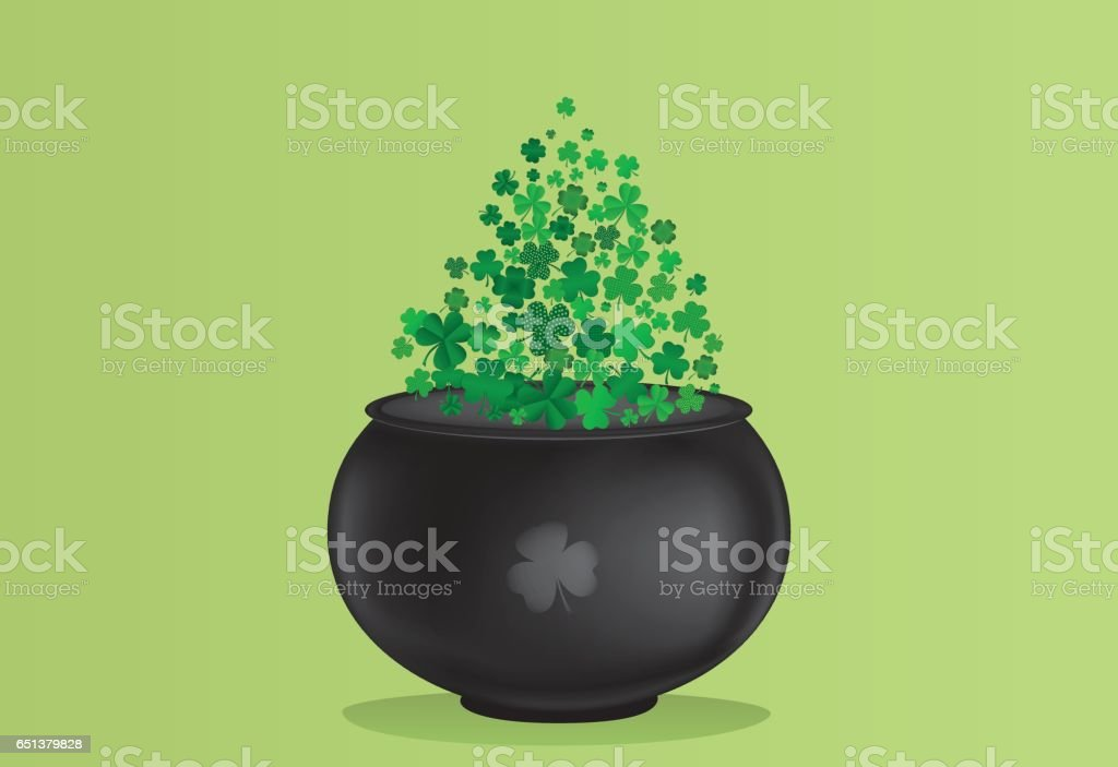 Clover inside the pot. A trefoil leaf flying comes out of the kettle. St.Patrick 's Day. Free space for your text or advertising. Greeting card or invitation. Vector illustration. vector art illustration