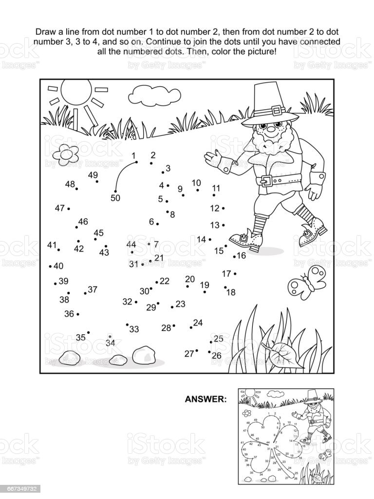Clover leaf and leprechaun dot-to-dot and coloring page vector art illustration