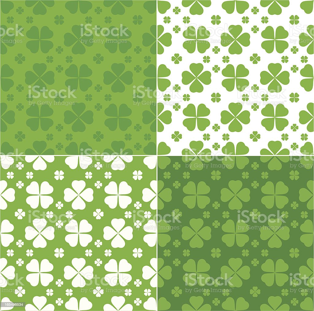 Clover seamless pattern in green and white vector art illustration
