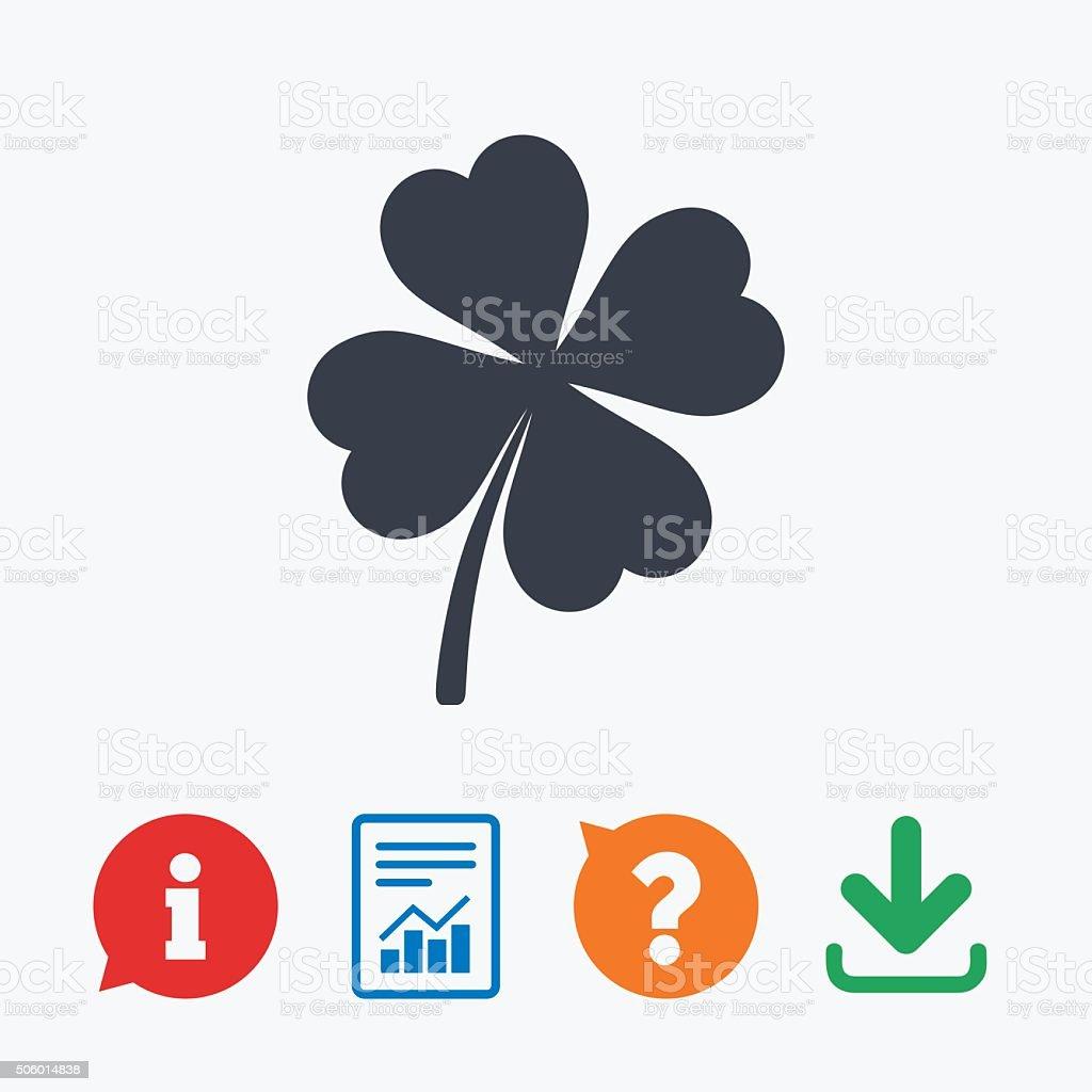 Clover with four leaves sign. St. Patrick symbol vector art illustration