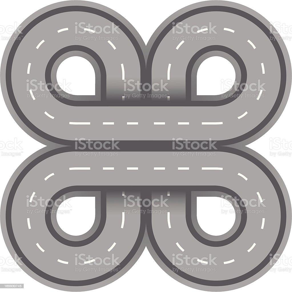 cloverleaf road icon royalty-free stock vector art