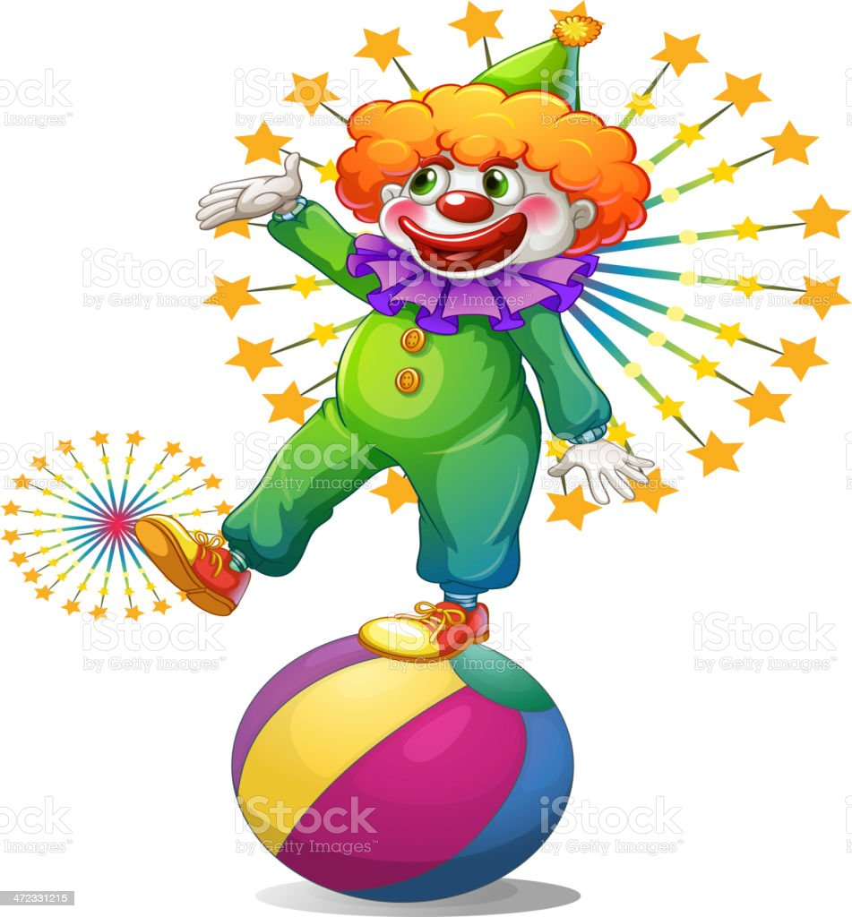 Clown above the inflatable ball royalty-free stock vector art