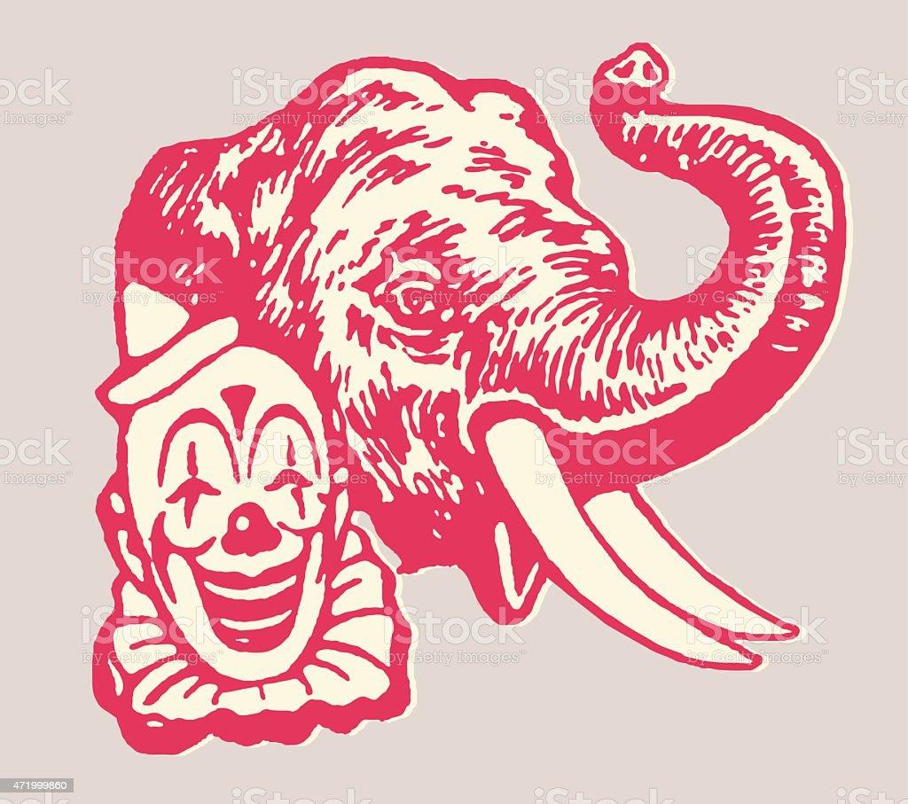 Clown and Elephant at Circle vector art illustration