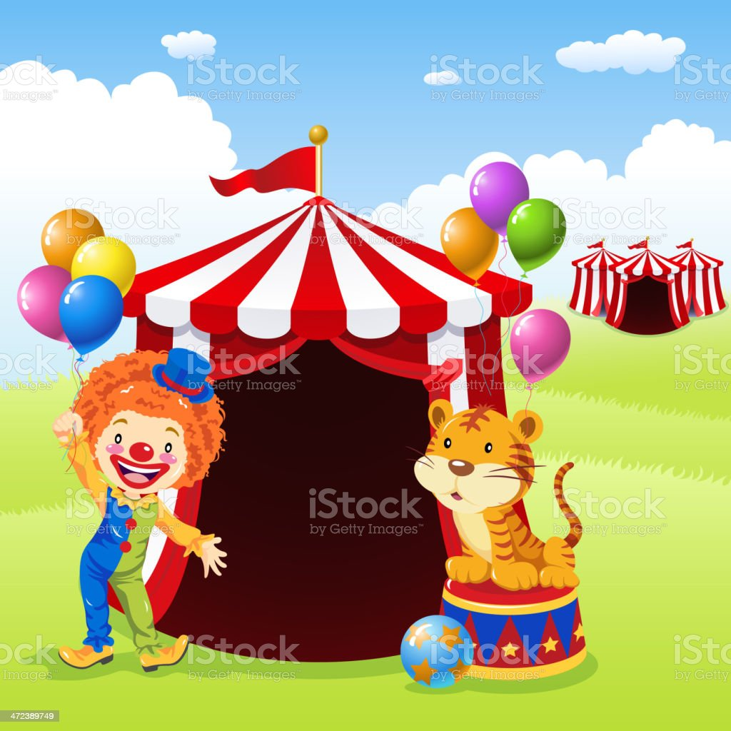 Clown and Tiger in Front of Circus Tent royalty-free stock vector art