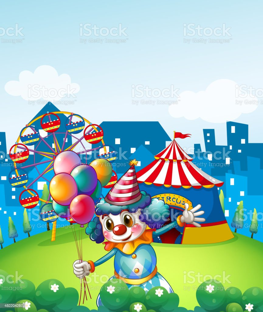 clown at the carnival with balloons royalty-free stock vector art