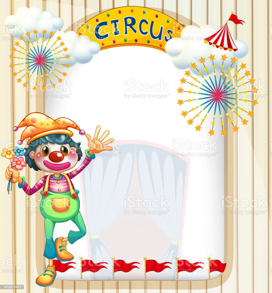 Clown at the circus entrance royalty-free stock vector art