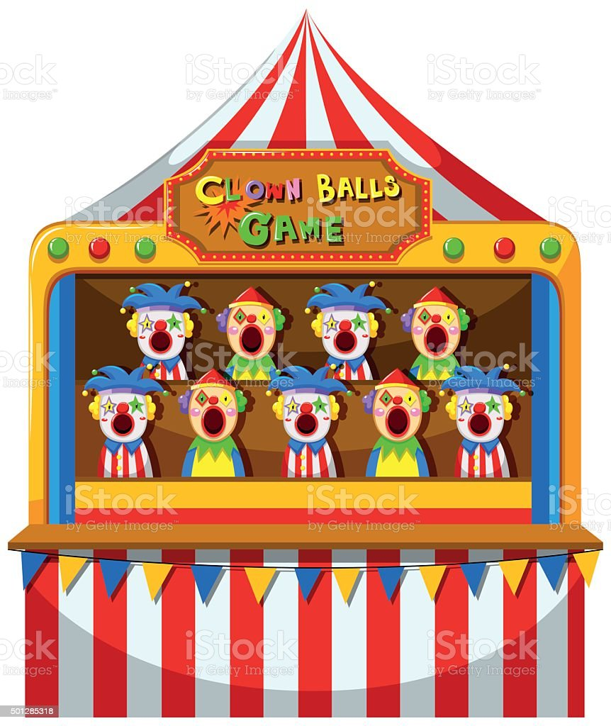 Clown ball game at the circus vector art illustration
