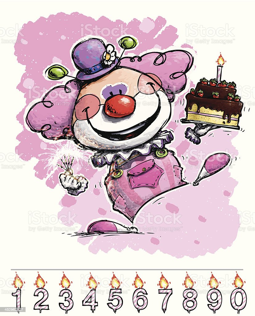 Clown Carrying a Girl's Birthday Cake royalty-free stock vector art