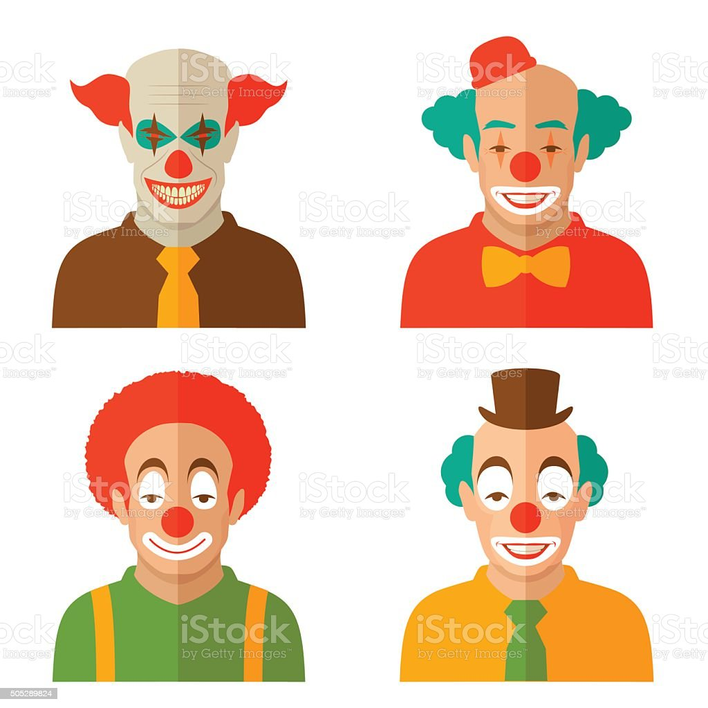 clown cartoon face vector art illustration