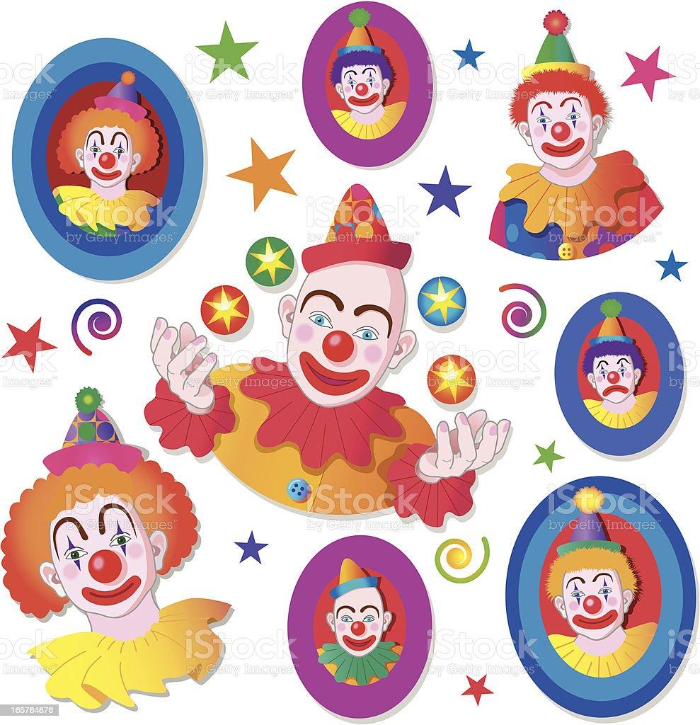 clown design elements vector art illustration