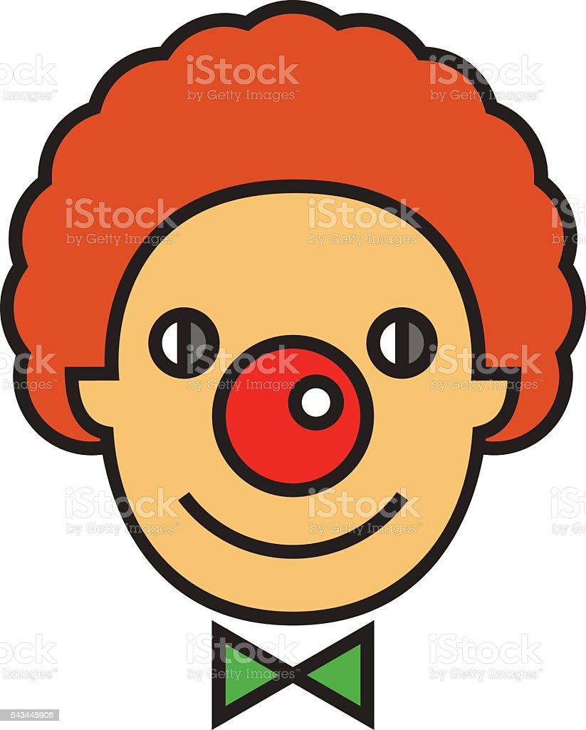 Clown Face Line Icon vector art illustration