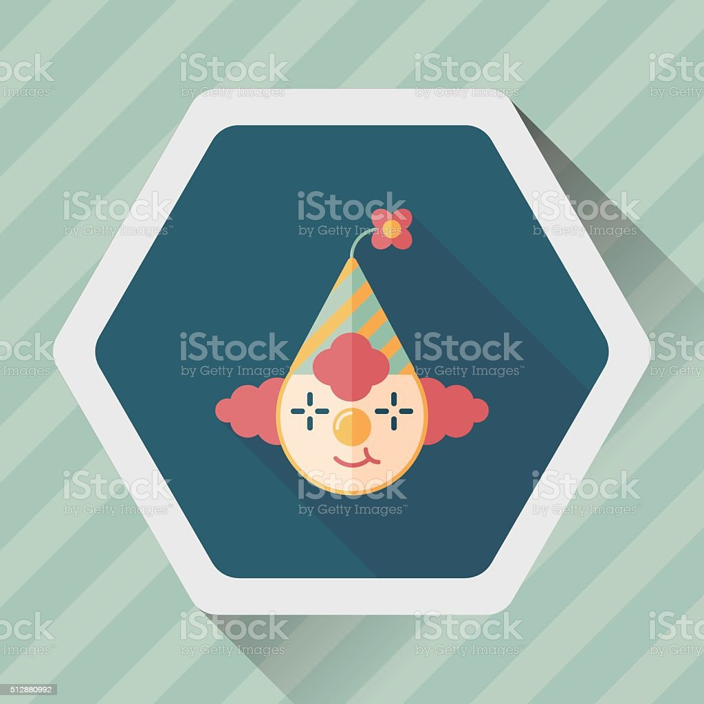 Clown flat icon with long shadow,eps10 vector art illustration