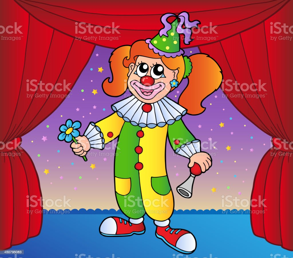 Clown girl on circus stage 1 royalty-free stock vector art
