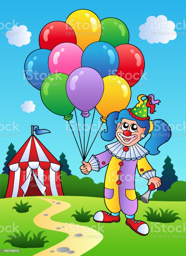Clown girl with balloons near tent royalty-free stock vector art