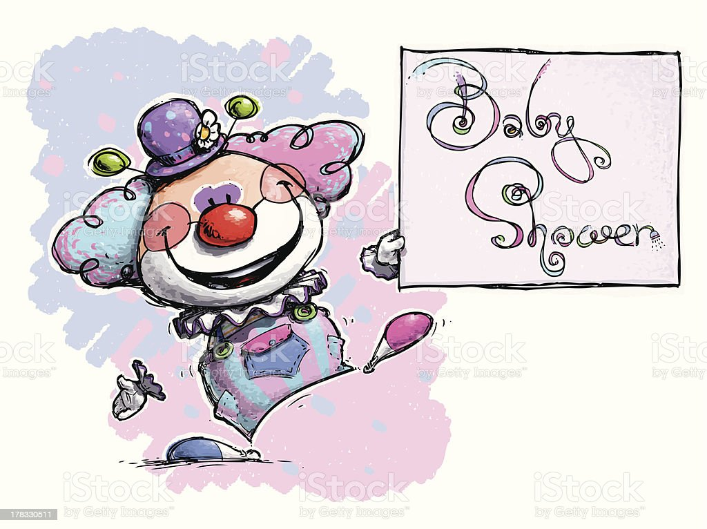 Clown Holding a Baby Shower Card royalty-free stock vector art