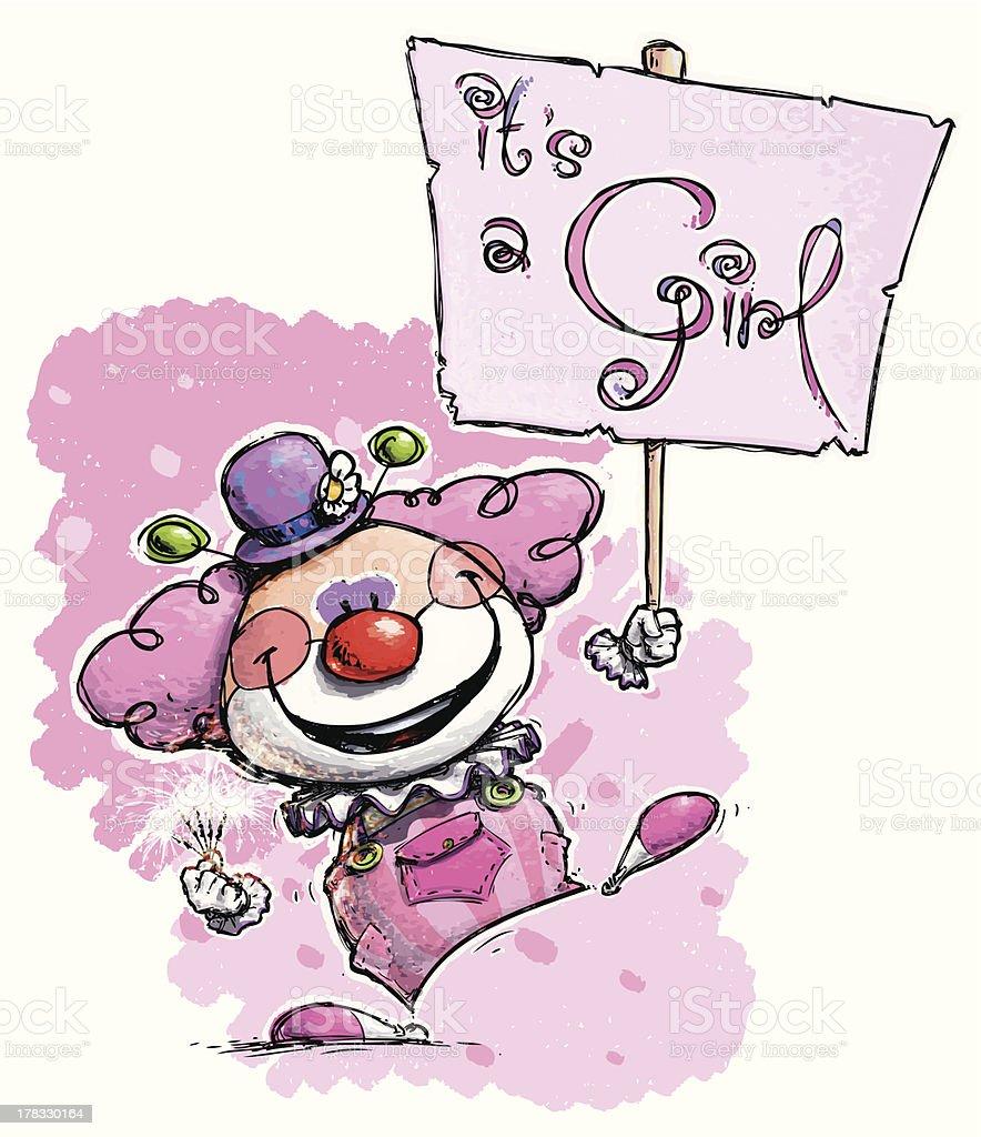 Clown Holding an It's a Girl Placard royalty-free stock vector art