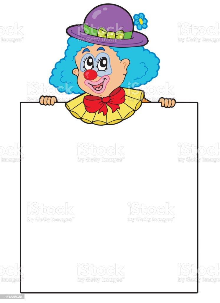 Clown holding blank board royalty-free stock vector art