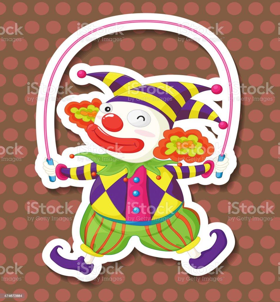 Clown jumping vector art illustration
