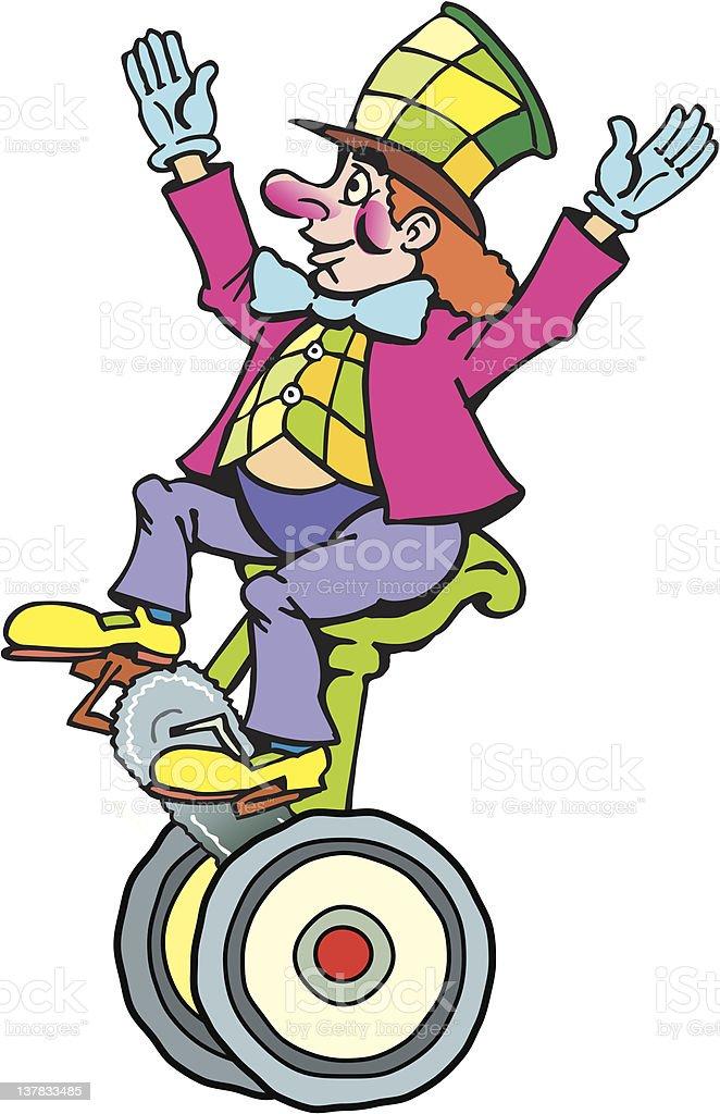 clown on cirkus-bike royalty-free stock vector art