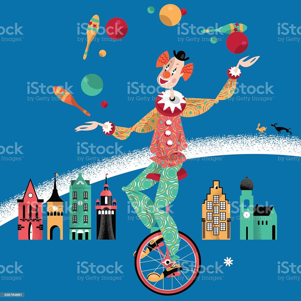 Clown on unicycle juggling with balls and pins. vector art illustration